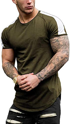 Coshow Camiseta de fitness para hombre, camiseta de culturismo, camiseta de entrenamiento, informal, ajustada, a rayas, manga corta, Hombre, Verde militar., large