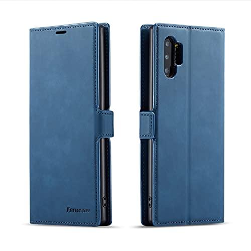AHUOZ Funda de piel multifunción para Samsung Galaxy Note10Plus, 2 en 1 con tapa magnética, carcasa de TPU con ranura para tarjeta (color azul)