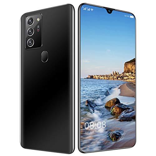 "LINGZE Teléfono móvil, teléfonos Inteligentes sin SIM desbloqueados, Pantalla HD de 7.1 "", Triple cámara Trasera de 48MP, 5600mAh, 4G Dual SIM, Huella Digital/identificación Facial, Negro"