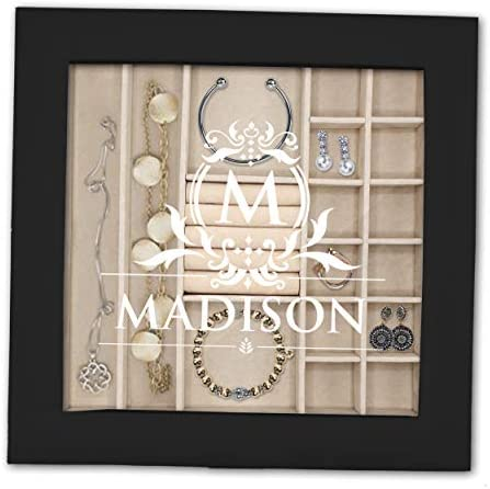 The Wedding Party Store Personalized Jewelry Box with Removable Tray Organizer Lock Key and product image