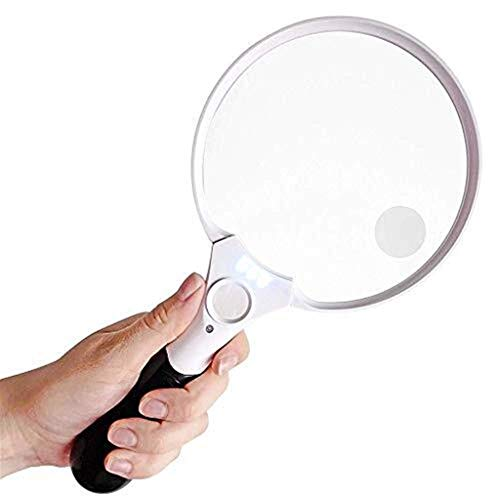 CKQ-KQ Glas Extra Large LED Handheld glas met licht - 2X 4X 25X Lens - Best Jumbo Size Illuminated Reading Magnifier for boeken, kranten, kaarten, munten, sieraden, hobby C