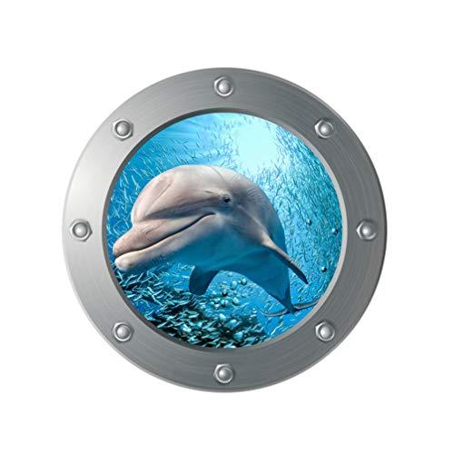 Vosarea 3D Sea Life Wandaufkleber Delfin U Boot Fenster Fliesenaufkleber Unterwasser Welt Fliesensticker Maritim Wandtattoo Bullauge Deko für WC Bade Wohnzimmer Schlafzimmer