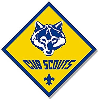 MAGNET 4x4 inch Diamond Shaped CUB SCOUTS Logo Sticker - scout scouting emblem insignia Magnetic vinyl bumper sticker sticks to any metal fridge, car, signs