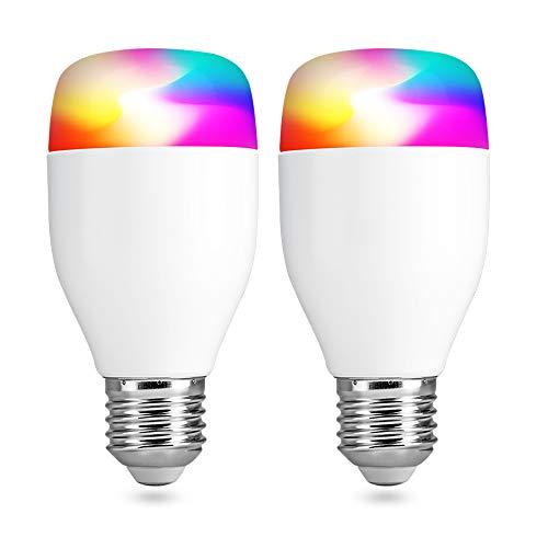 Wifi Smart Lampe, VegaHome WLAN LED Birne 7W RGB Glühbirne E27 Dimmbar App Gesteuert Mehrfarbig Licht Arbeitet mit Alexa und Google Home Fernbedienung von IOS & Android, 2 Stück [Energieklasse A+]