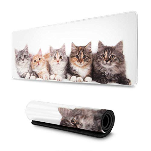 OKIJH Alfombrilla de ratón Group of Small Striped Kittens Cats in A Basket Mouse Mat Mouse Pad 31.5x11.8 Inch Wide & Long Mouse Desk Mat for Computer/Laptop