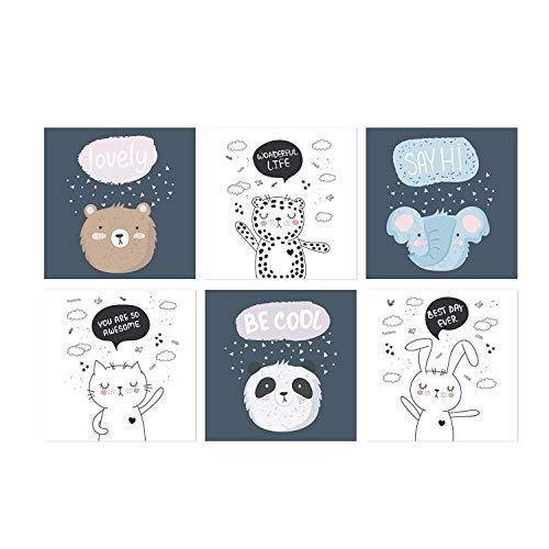 GC Cool Animal Wanddeko, Set mit 6 niedlichen Postern, ungerahmt, 11 x 11 cm, Wandbilder, Tier-Poster für Kinderzimmer und Heimdekoration, tolles Geschenk für Mädchen oder Babyzimmer