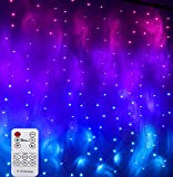 Pink Purple & Blue Ombre LED Curtain Lights with Remote, Rainbow Waterfall String Lights Ombre Hanging Fairy Mermaid Lights for Teen Room, Girls Room, Bedroom, Kawaii Room, Birthday, Mermaid Décor