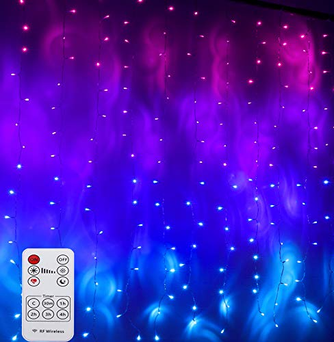 CoziTech Pink Purple & Blue Ombre Fairy Curtain Lights with Remote, Ombre Rainbow LED Waterfall String Curtain Lights for Girls Room, Bedroom, Teen Room, Kids Room, Wedding, Birthday, Mermaid Décor