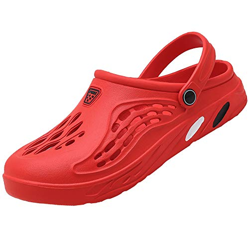[Unitysow] サンダル メンズ スリッパ 水陸両用 メッシュ ビーチサンダル オフィスサンダル 超軽量 ベランダ 室内履き ルームシューズ サボサンダル 速乾 滑り止め スポーツサンダル、レッド、27.5 cm
