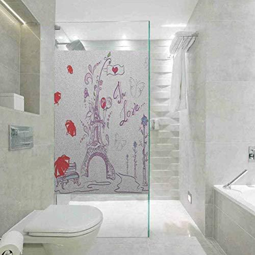 Vinilo decorativo para ventana, diseño de Torre Eiffel, otoño, romántico, París, amor histórico, San Valentín, película de cristal para el baño y la reunión