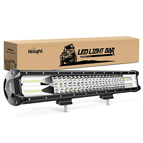 Nilight - 18005C-A 26Inch Triple Row Lights 297W 29700LM Flood Spot Combo Beam Bar Driving Boat Super Bright Led Off Road Trucks,2 Years Warranty