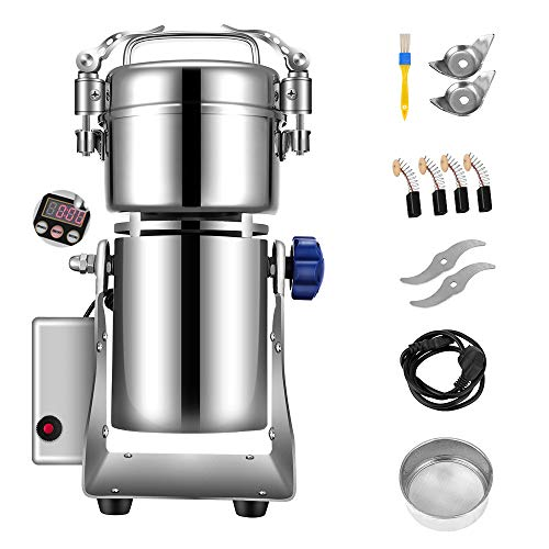 S SMAUTOP 300g Safety Upgraded Electric Grain Grinder,high-Speed LCD Digital Stainless Steel Super Grinder for Kitchen Herbs Spices Pepper Coffee Corn commercial household Swing Type