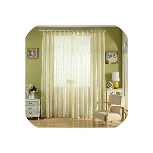 Embroidered Voiles Semi Country Style Sheer Curtains for Bedroom Living Room Kitchen Door Window Curtain Drape Panels,Beige,W500xL250cm,Pencil Pleat