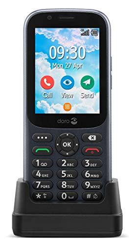 Doro 730X desbloqueado Dual SIM 4G teléfono móvil para personas mayores con GPS, WhatsApp para videollamadas, Facebook y soporte de carga incluido (negro) [Versión británica e irlandesa]
