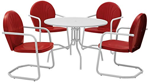 Crosley Furniture Griffith 5-Piece Metal Outdoor Dining Set with Table and Chairs - Coral Red