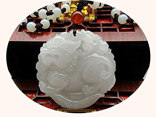 Z-GJM Kirin Natuurlijke Jade Hanger Wit Goud Ketting Eenhoorn Jade Guanyin Rijke Mannen Jade Tabletten Zorgvuldig Geselecteerde Materialen, Zorgvuldig Gepolijst,Comfortabel A