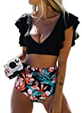 Joligiao Mujer Traje de Baño Bikini Ruffle Cintura Alta Conjunto de Bikini de Playa Triangulo Brasileño Push up Cuello en U Profundo Bikinis Top Ropa de Playa