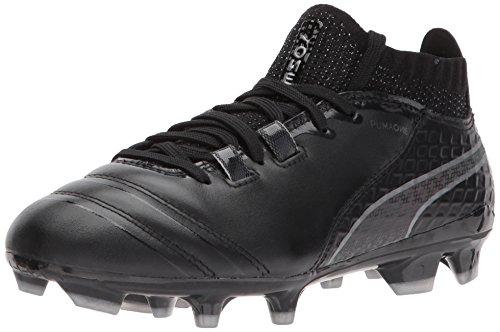 PUMA Unisex-Kids One 17.1 FG Jr Soccer Shoe, Black Black/Silver, 3.5 M US Big Kid