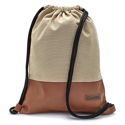 By-Bers LEON Tasche Turnbeutel Rucksack, Design unifarben mit Kunstlederboden, Sportbeutel Gym Bag Gymsack Hipster Fashion, Beige_braun, flach 34cmx45cm +-1cm