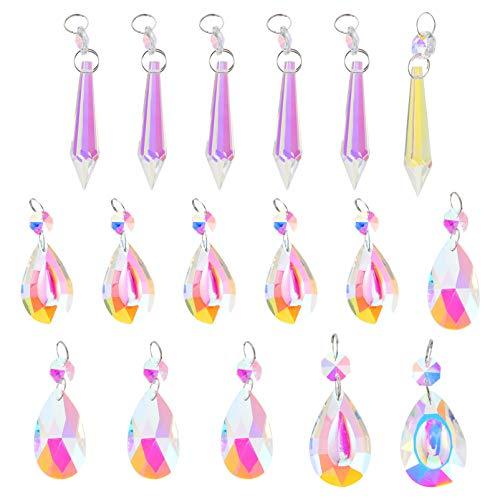 Cabilock 17Pcs Bunte Lampe Prismen Teile Kristalle Prismen Sonnenfänger Hängen Ornament Kronleuchter Glaskristalle Hängen Tropfen Anhänger für zu Hause Hochzeitsfeier Weihnachtsdekoration