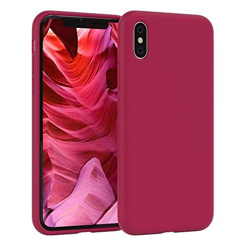 EAZY CASE Premium Silikon Handyhülle kompatibel mit Apple iPhone X/XS, Slimcover mit Kameraschutz und Innenfutter, Silikonhülle, Schutzhülle, Bumper, Handy Case, Hülle, Softcase, Beere