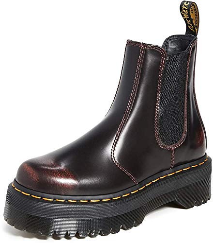 Dr. Martens Women's 2976 Quad Chelsea Boots, Cherry Red, 6 Medium US