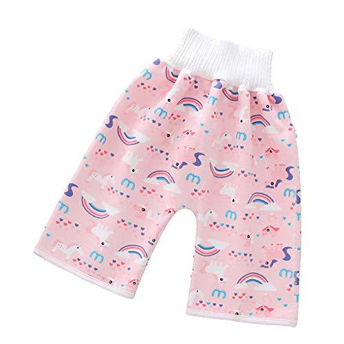 2020 Nuevos Pantalones Cortos De Falda De Pañal para Niños 2 En 1 Pantalones Impermeables a Prueba De Fugas Que Protegen El Vientre Pantalones De Bebé Reutilizables Y Lavables (Pink, Large)