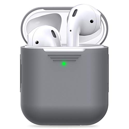 PodSkinz AirPods 2 & 1 Case [Front LED Visible] Protective Silicone Cover and Skin Compatible with Apple AirPods (Without Carabiner, Grey)