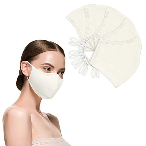 Jill Zarin - 100% Cotton Adjustable 2-Ply Adult Face Mask (5-Pk) - DIY Machine Washable, Reusable, Soft and Breathable Cloth Face Mask with Adjustable Straps (White)
