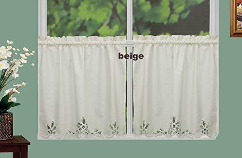 "Creative Linens Battenburg Lace Kitchen Curtain 30"" L Tiers Ecru Beige"