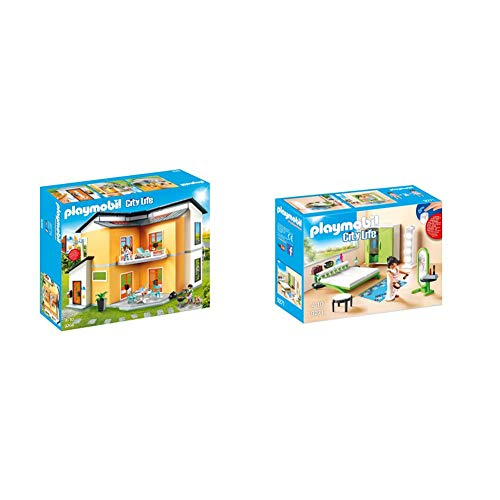 PLAYMOBIL City Life Casa Moderna, con Efectos de Luces y Sonido, a Partir de 4 Años (9266) + City Life Dormitorio, a Partir de 4 Años (9271)