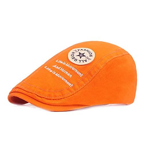 ileibmaoz Barett Baskenmützen Herrenmütze Golf Barette Golf Driving Sun Flatcap Mode Baumwolle Verstellbare Damen Lässige Schirmmütze Visiere Hüte-Laranja_55-59Cm