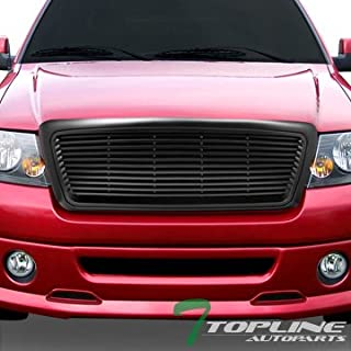 Topline Autopart Matte Black Horizontal Front Hood Bumper Grill Grille ABS For 04-08 Ford F150