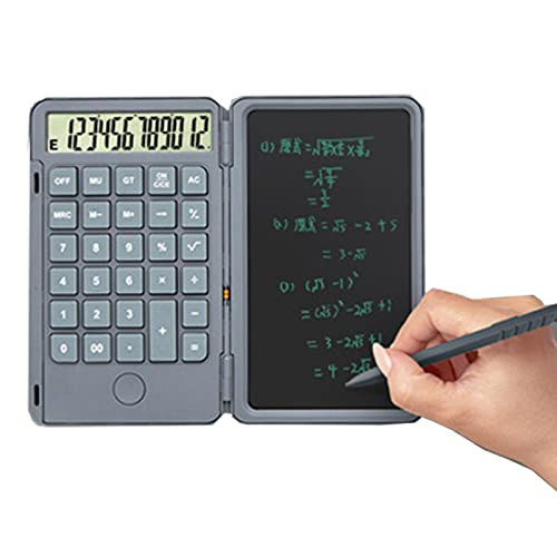 RUBAPOSM Calculadora de Oficina Básica con Bloc de Notas y Bolígrafo de 6,5 Pulgadas, Libreta Silenciosa Portátil Plegable Multifuncional Recargable de Calculadora, Calculadora de Escritorio,Gris