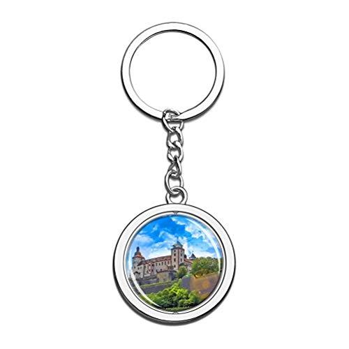 """""""N/A"""" Deutschland Festung Marienberg Würzburg Schlüsselbund Einzigartige Kreativität Tourismus Souvenir Geschenk Spin Edelstahl Kristallkette"""