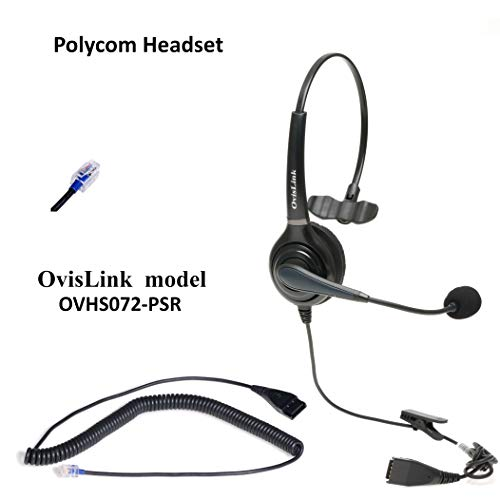 Polycom Phone Headset Compatible with Polycom VVX Series, CX Series and Soundpoint Series | Noise Canceling Call Center Headset with RJ9 Quick Disconnect Cord, Flexible Rotatable Microphone