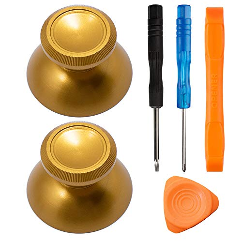 TOMSIN Metal Thumbsticks for Xbox One/ PS4 Controllers, Aluminum Analog Grip Replacement Parts for Xbox One S (2 Pcs) (Bronze)