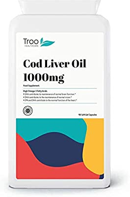 Cod Liver Oil 1000mg 90 Capsules - Daily Omega 3 Supplement Rich in DHA & EPA for Health Support