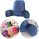 Finebaby Backrest Pillows for Bed with Arms,Plush Big Backrest Reading Rest Pillow Bed Adult Backrest Lounge Cushion Back Support,T-Shape Reading Lumbar Cushion Pillows (M:22.83x15.74x9.84, Blue)