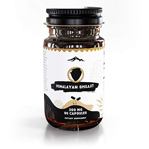 Pure Shilajit Capsules, Genuine Siberian Shilajit Extract, Natural Fulvic Acid Dietary Supplement (90ct, 200mg Each, Pack of 1)