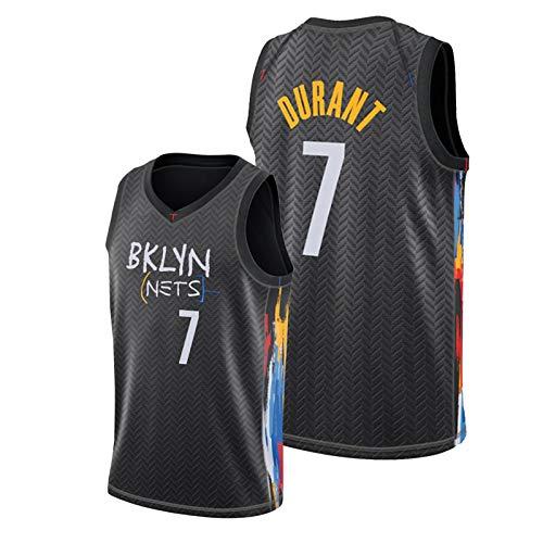 WDZG Camiseta de baloncesto Kěvin, para hombre, #7 Nets City Edition, color negro, para entrenamiento juvenil, sin mangas, talla XXL