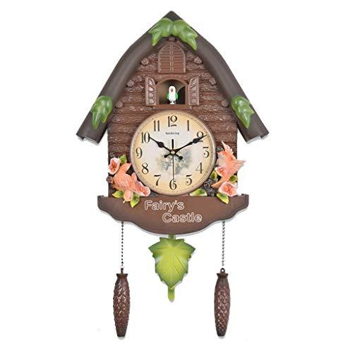 jbshop Reloj Clásico Reloj cucú Reloj de Tiempo del Reloj de la Personalidad Apto for niños de Kinder Dormitorio Decoración Reloj Reloj de Pared Silencioso (Color : E)
