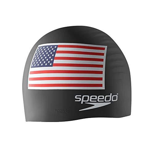 Speedo Unisex-Adult Swim Cap Silicone Speedo Black Flag, One Size