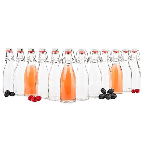 MamboCat Set van 12 beugelflessen 200 ml I Bierpulle rond I heldere glazen flessen om te vullen I Most, sap, bier, jenever, likeur, azijn & olie I draadbeugelsluiting