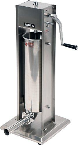 YATO Profi Industrie Wurstfüllmaschine Edelstahl mit 2-Gang-Getriebe, Handkurbel, Entlüftungsventil, 4 Fülltüllen, Auswahl 3kg, 5kg, 7kg, 15kg Wurstfüller Wurstspritze Wurstpresse Gastro (7 Liter)