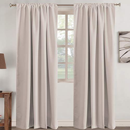Turquoize Window Curtains Insulated Thermal 52 inch Wide by 84 inch Long Back Tab/Rod Pocket Window Panel Drapes - 2 Panels Window Treatment Panels for Living Room, Natural