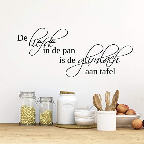 Muursticker De Liefde In De Pan Is De Glimlach Aan Tafel - Lichtbruin - 120 x 51 cm - Muursticker4Sale