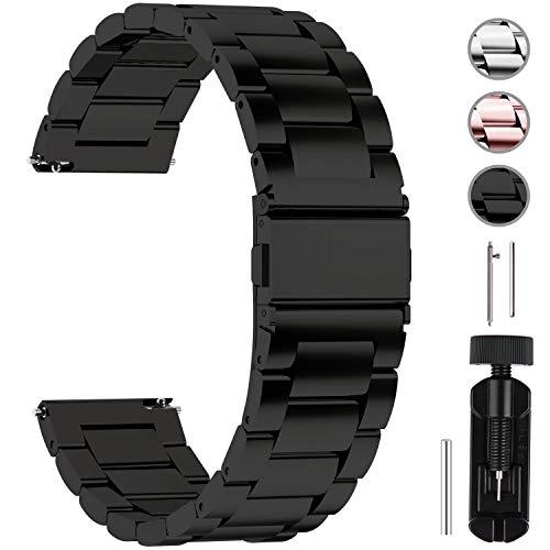 Fullmosa Uhrenarmband Edelstahl,Metall Armbänder mit Schnellverschluss geeignet für Damen&Herren, 20mm Schwarz