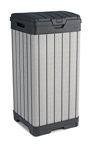 KETER Rockford Resin 38 Gallon Trash Can with Lid and Drip Tray for Easy Cleaning-Perfect for Patios, Kitchens, and Outdoor Entertaining, Grey
