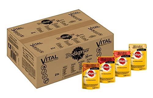 PEDIGREE Vital Protection Comida para perros con pollo y cordero en gelatina - Caja de 84 bolsitas x 100 g (Total: 8.4 kg)
